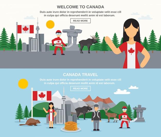 Welkom bij canada banners Gratis Vector