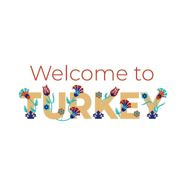 Welkom bij de beletteringbanner van turkije met turkse bloemmotieven. . Premium Vector