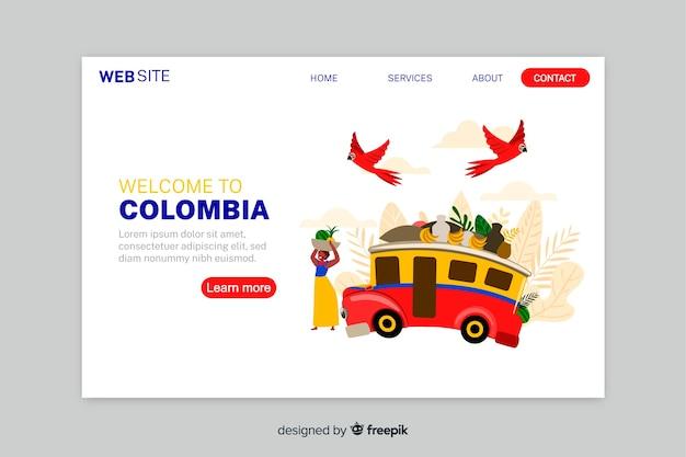 Welkom bij de bestemmingspagina-sjabloon in colombia Gratis Vector