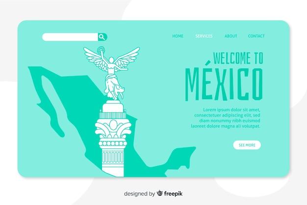 Welkom bij de bestemmingspagina-sjabloon in mexico Gratis Vector