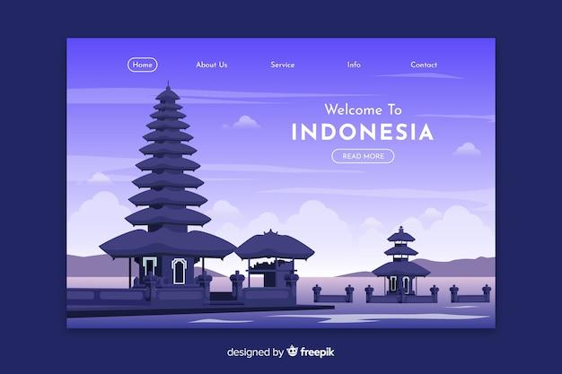 Welkom bij de bestemmingspagina-sjabloon van indonesië Gratis Vector