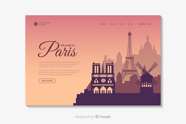 Welkom bij de bestemmingspagina-sjabloon van parijs Gratis Vector
