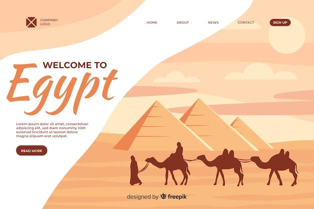 Welkom bij de bestemmingspagina-sjabloon voor egypte Gratis Vector