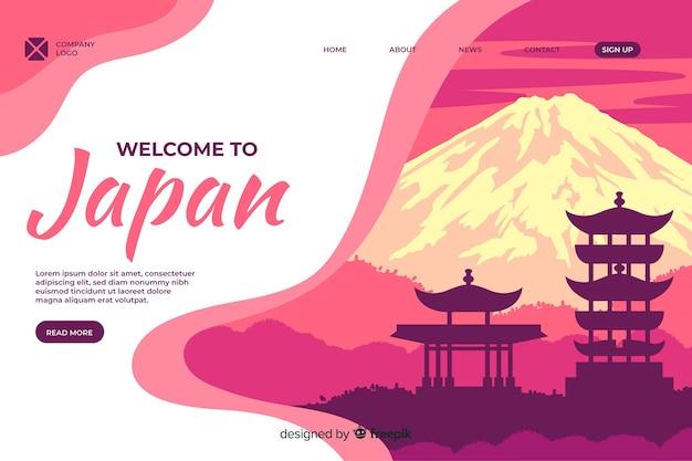 Welkom bij de bestemmingspagina-sjabloon voor japan Gratis Vector