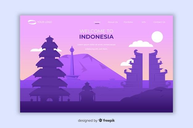 Welkom bij de landingspagina van indonesië Gratis Vector