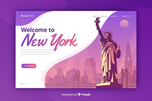 Welkom bij de landingspagina van new york Gratis Vector