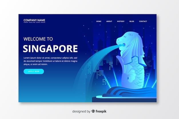 Welkom bij de landingspagina van singapore Gratis Vector