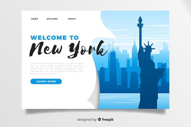 Welkom bij de landingspaginasjabloon van new york Gratis Vector