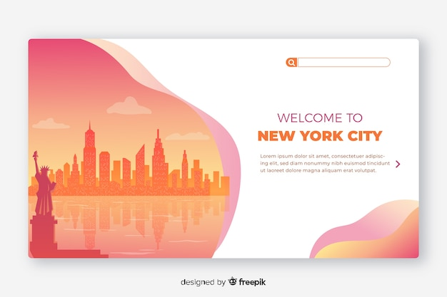 Welkom bij de sjabloon voor de bestemmingspagina van new york Gratis Vector