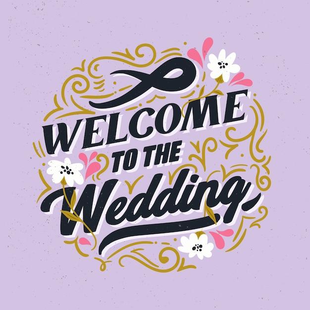 Welkom bij de trouwbelettering Gratis Vector