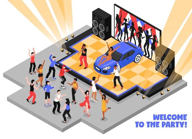 Welkom bij het isometrische feest met rappers die rapmuziek uitvoeren op het podium en dansende tieners Gratis Vector