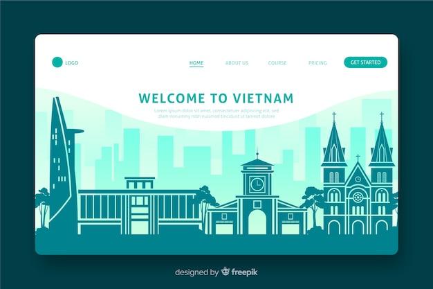 Welkom bij het platte ontwerp van de landingspagina van vietnam Gratis Vector