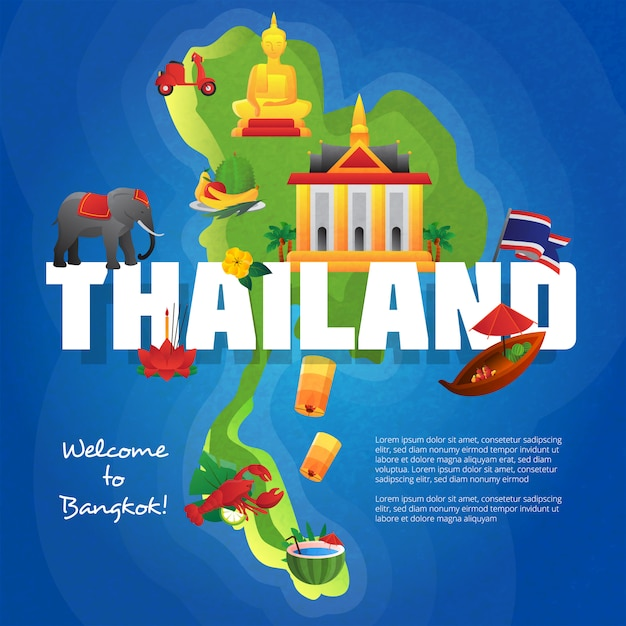 Welkom bij het poster van het reisbureau van bangkok met culturele symbolen op de kaart van thailand Gratis Vector