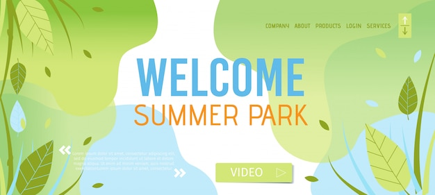 Welkom bij het sjabloon voor de zomerpagina-bestemmingspagina Premium Vector