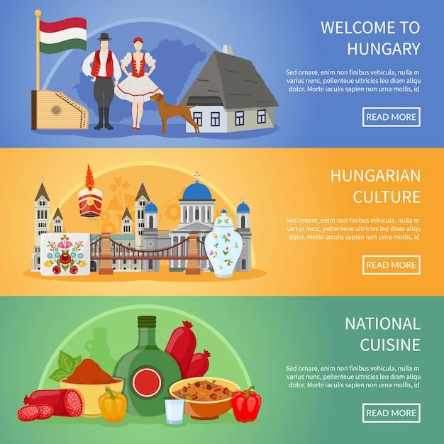 Welkom bij hongarije banners Gratis Vector