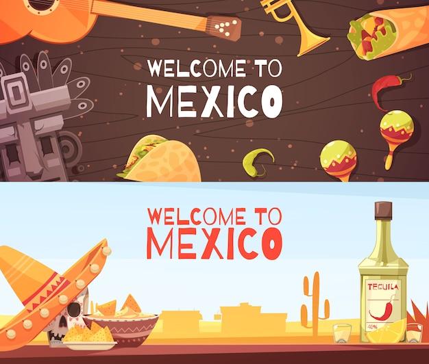 Welkom bij horizontale banners in mexico Gratis Vector
