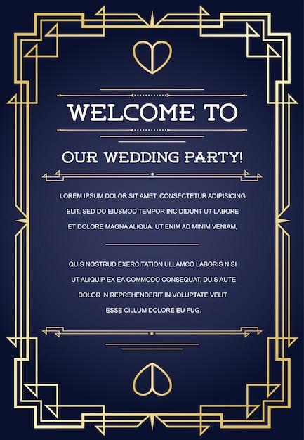 Welkom bij onze bruiloftsfeestkaartsjabloon met ontwerp in art deco of nouveau epoch 1920's Premium Vector