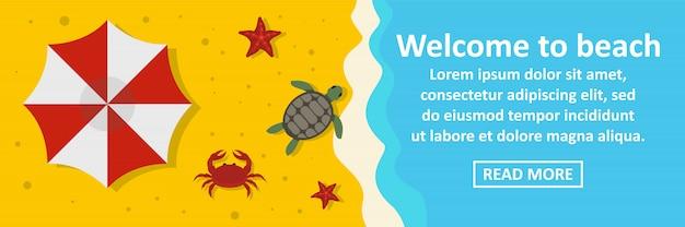 Welkom bij strand banner sjabloon horizontaal concept Premium Vector