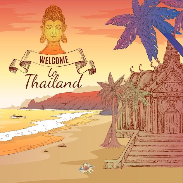 Welkom bij thailand illustratie Gratis Vector