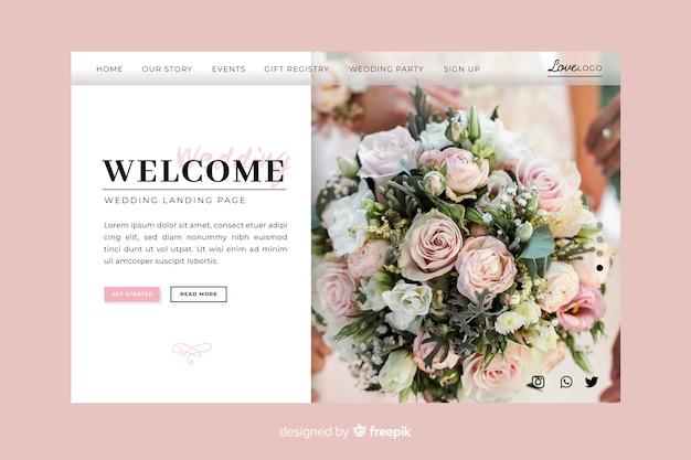 Welkom bruiloft bestemmingspagina Gratis Vector
