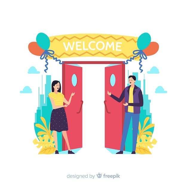 Welkom concept voor bestemmingspagina Gratis Vector