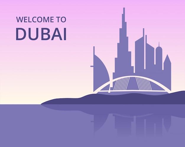 Welkom in dubai. vector panoramisch stadsgezicht van dubai met silhouet van wolkenkrabbers gebouwen Premium Vector
