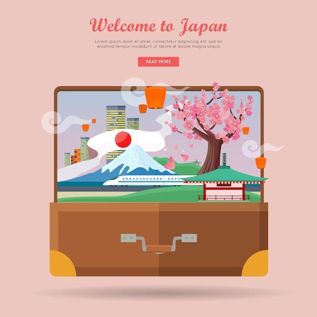 Welkom in japan, reisaffiche Premium Vector