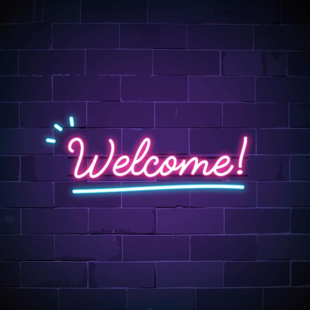 Welkom in neon teken vector Gratis Vector