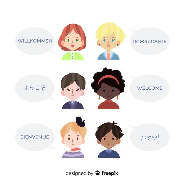 Welkom in verschillende talen Gratis Vector