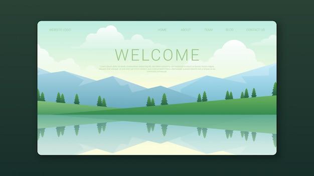 Welkom landingspagina sjabloon met bergen landschap Premium Vector
