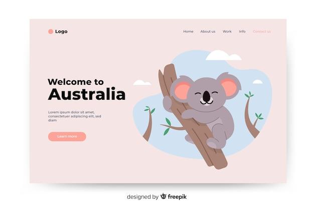 Welkom op de bestemmingspagina van australië met illustraties Gratis Vector