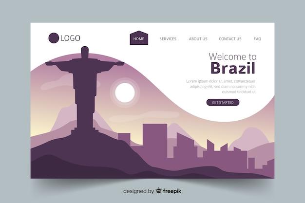 Welkom op de bestemmingspagina van brazilië Gratis Vector