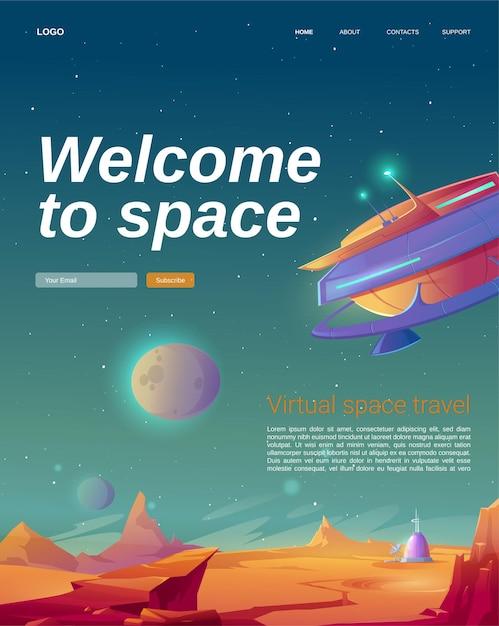 Welkom op de bestemmingspagina van de ruimtecartoon met ufo-ruimteschip Gratis Vector