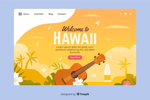 Welkom op de bestemmingspagina van hawaï Gratis Vector