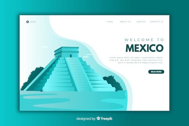 Welkom op de blauwe bestemmingspagina van mexico Gratis Vector