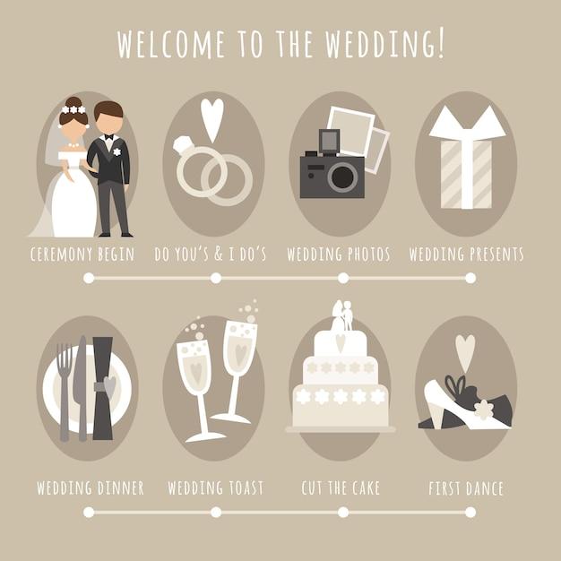 Welkom op de bruiloft Gratis Vector
