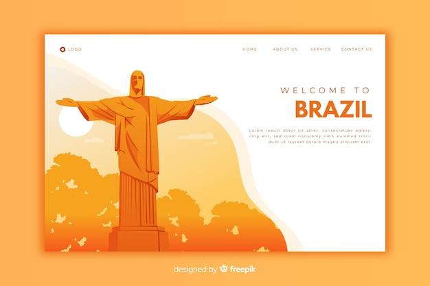 Welkom op de oranje bestemmingspagina van brazilië Gratis Vector