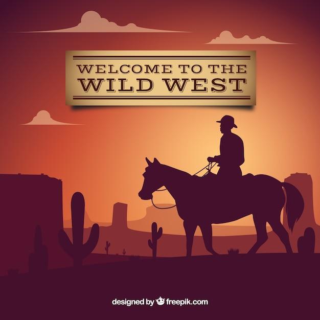 Welkom op het wilde westen achtergrond met cowboy Gratis Vector
