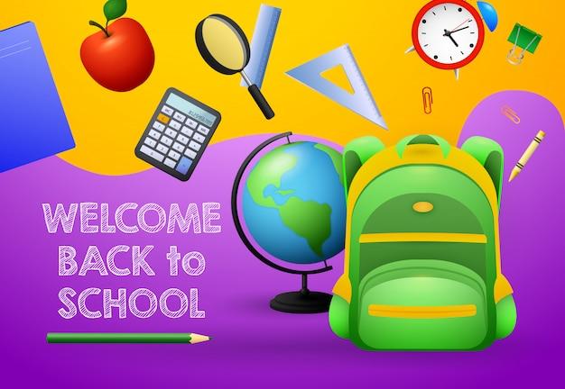 Welkom terug bij schoolontwerp. groene rugzak Gratis Vector