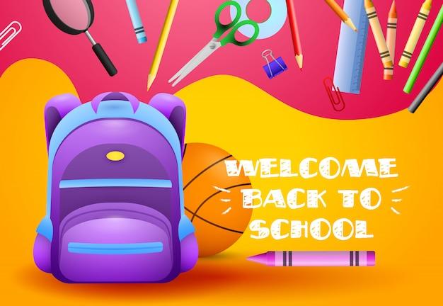 Welkom terug bij schoolontwerp Gratis Vector