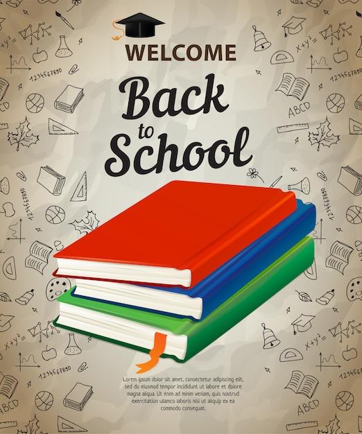 Welkom, terug naar school letters en boeken Gratis Vector