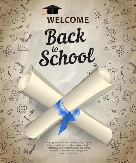 Welkom, terug naar school letters en gekruiste diploma-scrolls Gratis Vector