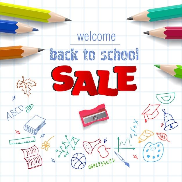 Welkom, terug naar school, verkoop belettering op ruitjespapier Gratis Vector