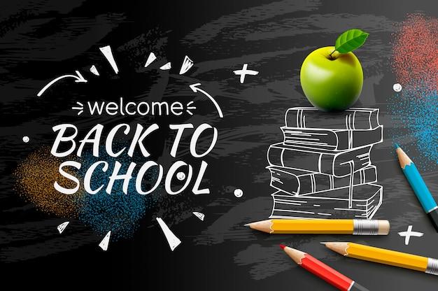 Welkom terug naar schoolkrabbel op zwarte bordachtergrond ,. Premium Vector