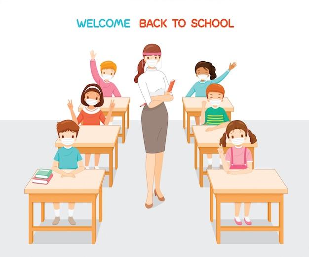Welkom terug op school, leraar en studenten die een chirurgisch masker dragen in de klas Premium Vector