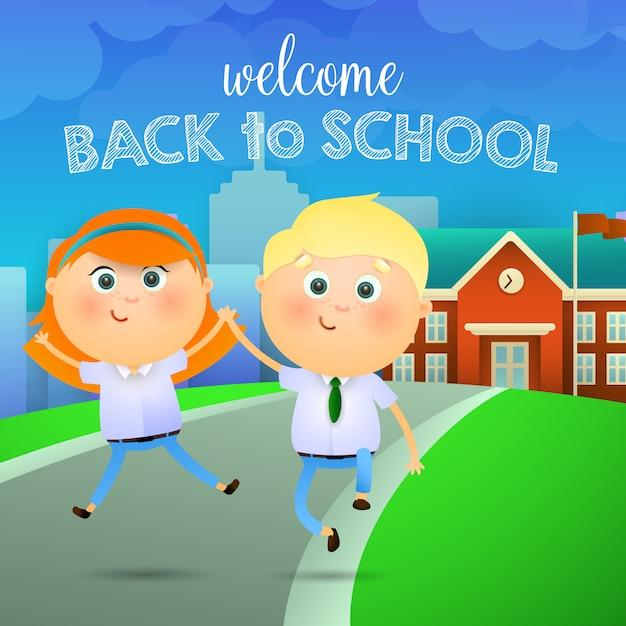 Welkom terug op school letters, blij meisje en jongen Gratis Vector