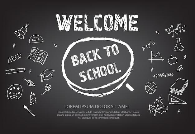 Welkom terug op school letters in krijt cirkel Gratis Vector