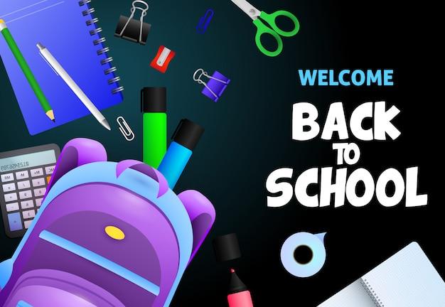 Welkom terug op school letters, notebook, rekenmachine Gratis Vector