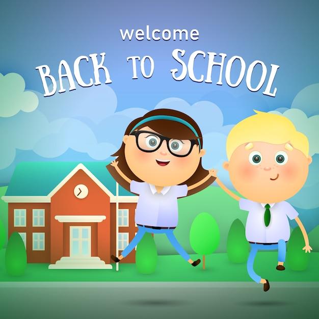 Welkom terug op school letters, vrolijke jongen en meisje Gratis Vector