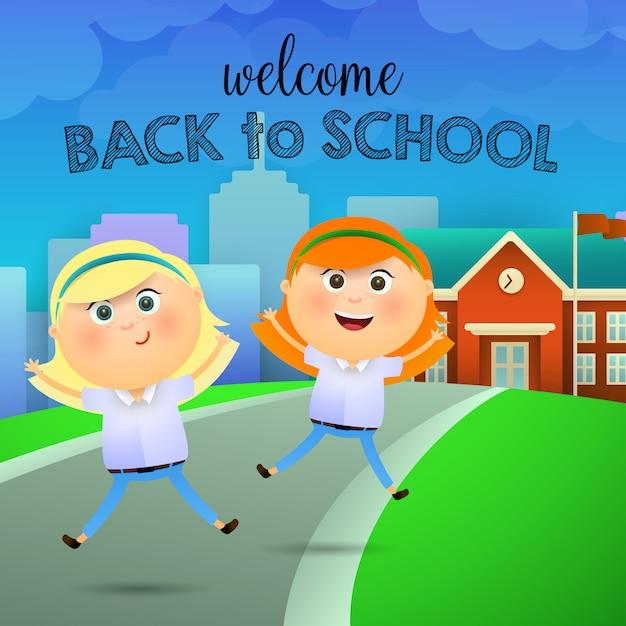 Welkom terug op school letters, vrolijke schoolmeisjes Gratis Vector